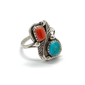 Signed Vintage Sterling Turquoise Red Coral Ring